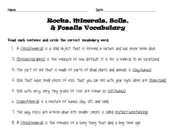 Rocks, Minerals, Soils, & Fossils Modified Science Vocabulary Quiz