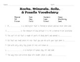 Rocks, Minerals, Soils, and Fossils Science Vocabulary Quiz