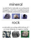 Rocks & Minerals Unit Vocabulary Posters / Word Wall
