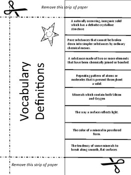Rocks & Minerals Vocabulary Activity