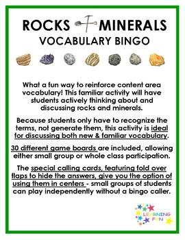 Rocks & Minerals Vocabulary Bingo