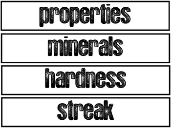 Rocks & Minerals Pocket Chart Vocabulary (EDITABLE)