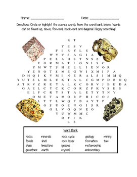 Rocks & Minerals Word Search *FREEBIE*