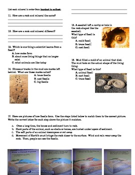 Rocks, Minerals, and Fossils Assessment