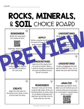 Rocks, Minerals, and Soil Choice Board - Editable