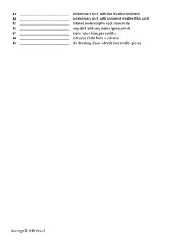 Rocks Quiz or Worksheet