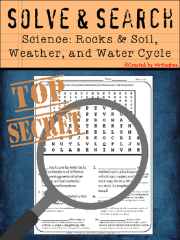 Rocks & Soil, Weather, Water Cycle- Science Vocabulary - Solve and Search