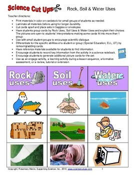 Rocks, Soil and Water Uses
