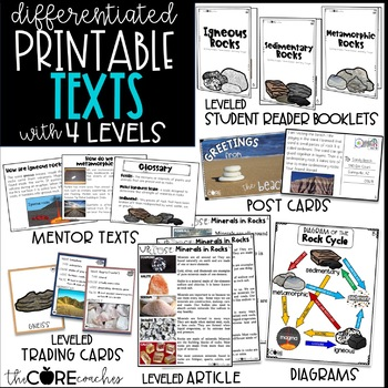 Rocks Text Pack: Differentiated printable texts for classroom research