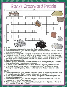 Rocks Types of Rocks Activities Crossword Puzzle and Word Search Find