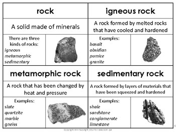 Rocks Vocabulary Word of the Day Cards