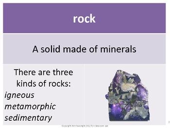 Rocks Vocabulary Cards