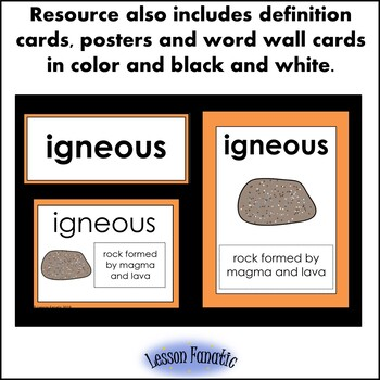 Rocks Vocabulary Words Color, Cut and Glue Dictionary