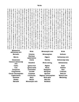 Rocks Word Search