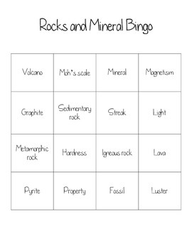 Rocks and Mineral Bingo Review