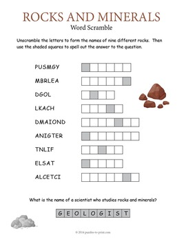 Rocks and Minerals Bundle - 3 Vocabulary Puzzles
