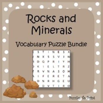 Rocks and Minerals Vocabulary Puzzle Bundle