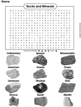 Types of Rocks and Minerals Word Search