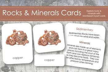 Rocks and Minerals 3-Part Nomenclature Cards- Montessori