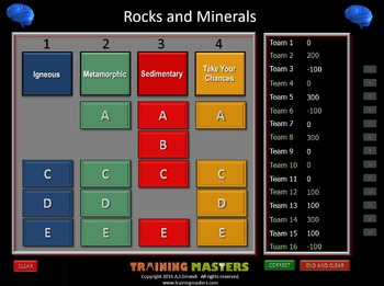 Rocks and Minerals - A PowerPoint Drain Your Brain Game
