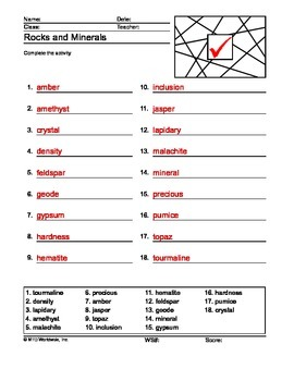 Rocks and Minerals ABC Order Printable