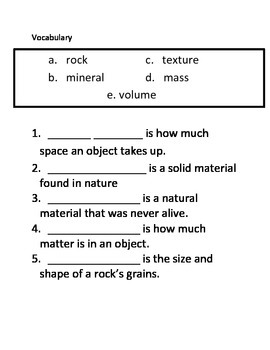 Rocks and Minerals - ASSESSMENT - 3rd Science