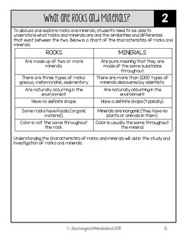 {Grade 4} Rocks and Minerals Activity Packet