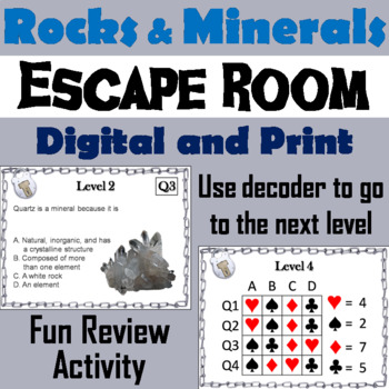 Rocks and Minerals Activity: Escape Room - Science