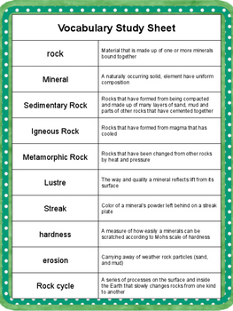 Rocks and Minerals Assessment Tasks