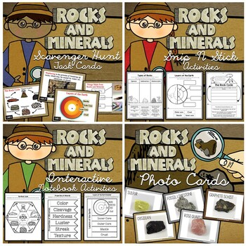 Rocks and Minerals Bundle - Interactive Notebook, Task Cards, and More!