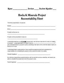 Rocks and Minerals Choice Board Project