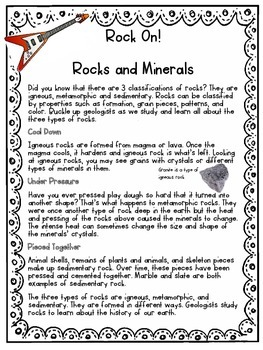 Rocks and Minerals Close Read