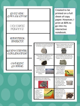 Rocks and Minerals Cut and Paste Vocabulary