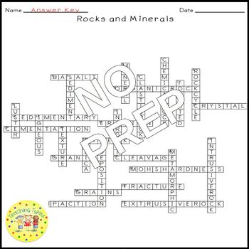 Rocks and Minerals Earth Science Crossword Puzzle Worksheet Middle School