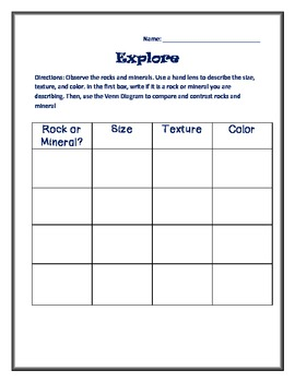 Rocks and Minerals Graphic Organizer for Kids