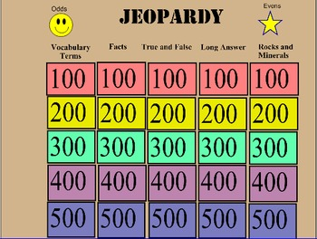 Rocks and Minerals Jeopardy Review Game