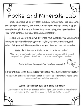 Rocks and Minerals Lab