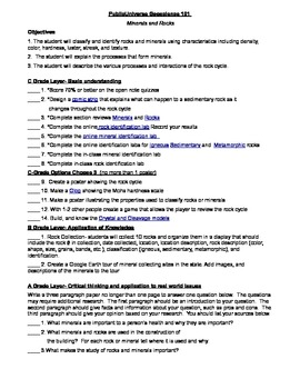 Rocks and Minerals Layered Lesson Plan
