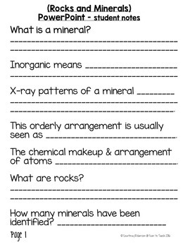 Rocks and Minerals (Minerals) Unit PowerPoint + Notes + Test {Editable}