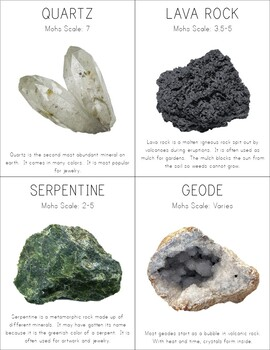 Rocks and Minerals Cards & Mini Guide Book