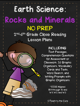 Rocks/Minerals NO PREP Close Reading Plans w/Assessment- 2nd-6th grade