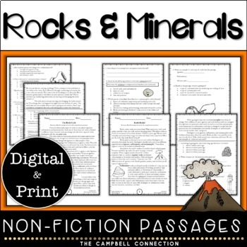 Rocks and Minerals Nonfiction Reading Comprehension Passages