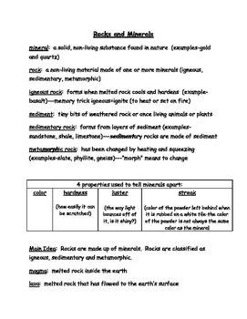 Rocks and Minerals Notes, Study Guide, Test Review 3rd Grade Science