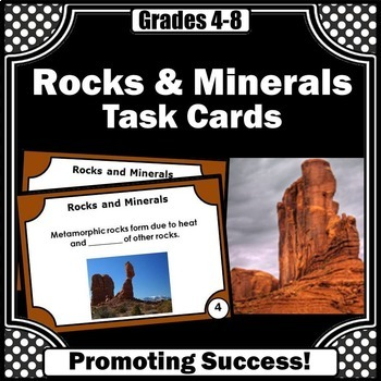Rocks and Minerals Task Cards for Science Center Games & A