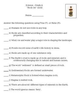 Rocks and Minerals Quiz: Grade 4 Science Curriculum, Ontario