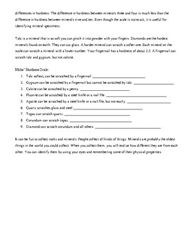 Rocks and Minerals Remediation Worksheet