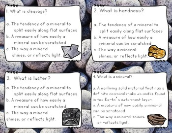 Rocks and Minerals Scoot/ Task Cards