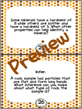 Rocks and Minerals Task Cards