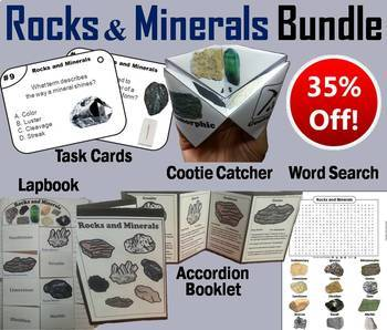 Rocks and Minerals Task Cards and Activities Bundle