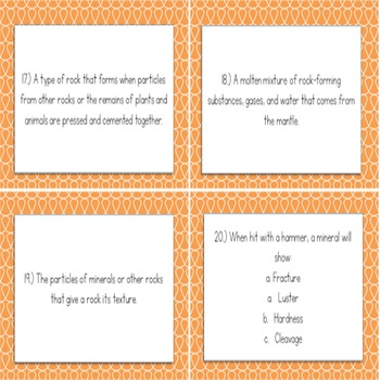 Rocks and Minerals Task Cards (for grades 6-8)